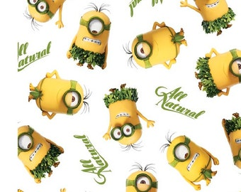 Minions Fabric All Natural Fabric White From Quilting Treasures