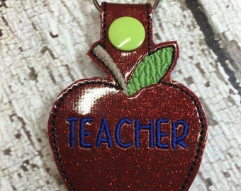 Teacher - Apple  - Snap/Rivet Key Fob - DIGITAL Embroidery Design