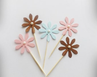 Daisy Cupcake Toppers, Pastel Daisy Toppers, 24 Party Picks, Daisy Party Picks, Flower Toppers, Cupcake Picks, Daisy Flower Picks
