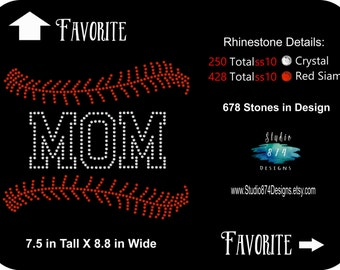 Rhinestone Transfer Template Pattern Stencil - Bling Baseball Mom - DOWNLOAD ONLY-  - DIY - Sticky Flock