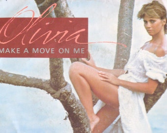 Vintage 45 Record, Olivia Newton John, Make A Move On Me, Picture Sleeve, Singer Songwriter, Vinyl Record, Music Lover Gift, Free Shipping