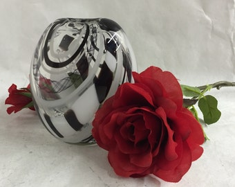 Black and White Oval Flattened Blown Glass Vase