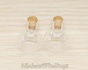 ETC004 //  Clear Glass Mini Flat Bottom Round Shape Bottle Vial with Cork ,2 Pc