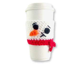 Crochet PATTERN, Snowman Travel mug sleeve / Red scarf  / coffee mug cozy / travel cup sleeve / travel mug cozy / coffee cup sleeve