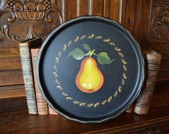 Vintage Round Fruit Tole Tray Black Metal Yellow Pear