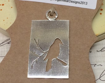 Bird Pendant, Robin Pendant,  Bird on a Branch Silhouette pendant, .999 fine silver pendant, Artisan Pendant, Pendants under 125