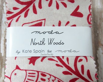 "North Woods - Kate Spain - Moda - 42 Pieces - 2 1/2"" Squares - Mini Charm Pack - 27240MC"