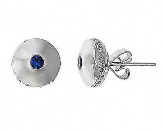0.50 Cttw Round Diamonds and Blue Sapphire Stud Earrings in 14K White Gold
