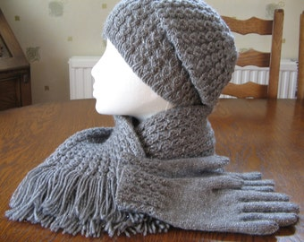 Ladies Hand Knitted Scarf/Hat/Gloves Set in Grey or Black sparkle & choice of hat