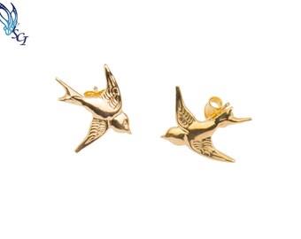 Sparrow Stud Earrings Gold Filled, Tiny Bird Earrings, Bird Earrings, Bird Lover Earrings, Minimalist Earrings, Rockabilly Earrings, GFER33
