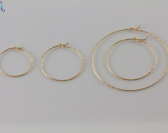 Gold Sparkle Hoop Earrings, Available in Different Sizes in Gold, Simple, Everyday Wear, Minimal Earrings, Lightweight Gold Hoops GFER45