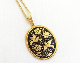 Vintage Damascene Songbird Pendant // Bird Necklace