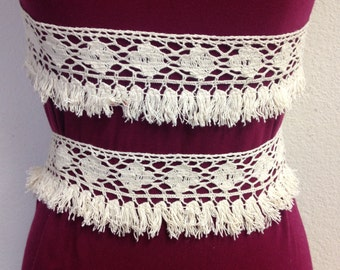 """1 yard 2.5"""" wide cream color  cotton fringe - DIY supplies/lace and trims/fringes/notions/supplies/"""