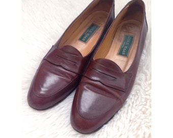 Vintage Cole Haan Genuine Cognac Leather Penny Loafers Flats Oxfords 8.5 AAA Narrow