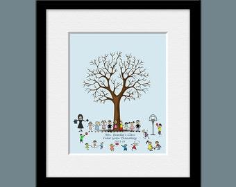 End of the Year Teacher's Gift, Teachers Gift,  Teacher's Thumbprint Tree, Student Stickfigure Thumbprint Tree, Teacher's Thank You Gift