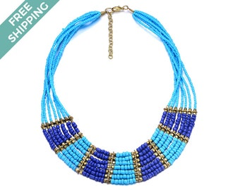 Multi-layered Beaded Necklace, Featuring Light Blue/ Baby Blue, Dark Blue & Gold Beads