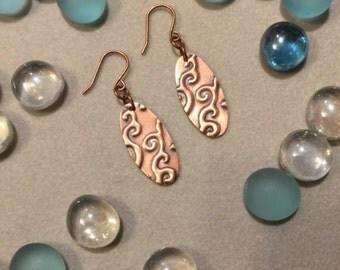 Embossed Oblong Copper Earrings - Rustic Dangle