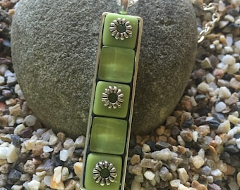 Mother's Day Gift, Pendant, Necklace, Mosaic Pendant Necklace, Green Pendant,  Lime Green Glass Tiles with added embellishments