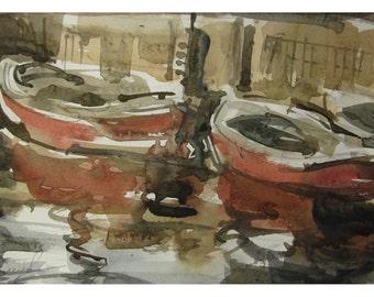 Boats - original watercolor