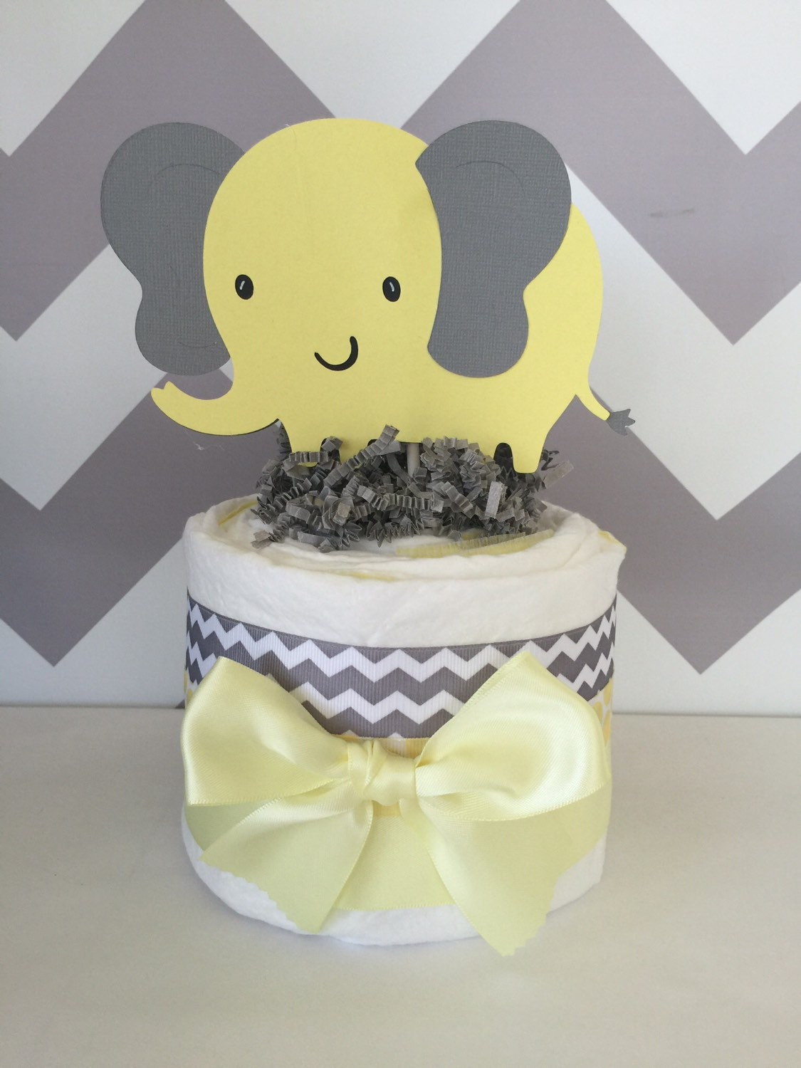 Marvelous Mini Elephant Theme Baby Shower Diaper Cake In Gray And Yellow, Chevron  Gray And Yellow Elephant Baby Shower Centerpiece