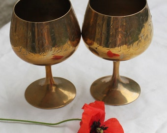 Pair of Gold Metal Tone Drinking Goblets Cosplay/ComicCon/Fantasy