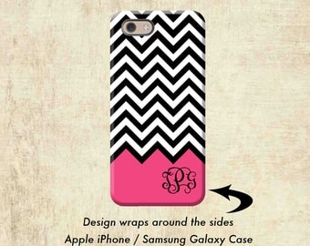 Black Pink Chevron Monogram iPhone 6S Case,  iPhone 7 Case, iPhone Case, iPhone 6 Plus Phone Case, iPhone 7 Plus Case, Personalized Gift