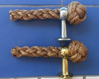 TOILET ROLL HOLDER handmade manila rope Brass or polished steel finish