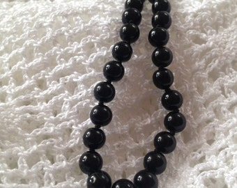 Vintage Black glass Beads, Knotted black Bead Necklace, Black glass beads