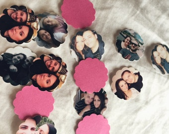 High Quality Custom Scallop Circle Photo Confetti