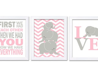 Elephant Nursery Wall Decor LOVE Set of 3 Prints Pink Grey Nursery Art Chevron First We Had Each Other Girl Child Kids Baby Jungle Safari