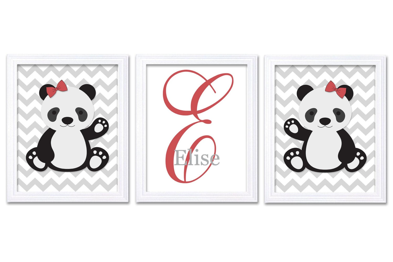 Girl Panda Nursery Art Set of 3 Print Personalized Name Monogram Red Black Dream Big Little One Chil