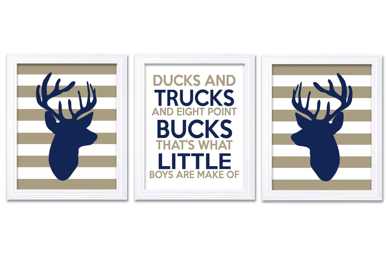 Deer Nursery Art Deer Head Prints Set of 3 Ducks Trucks Bucks Little Boys Are Made of Navy Blue Brow