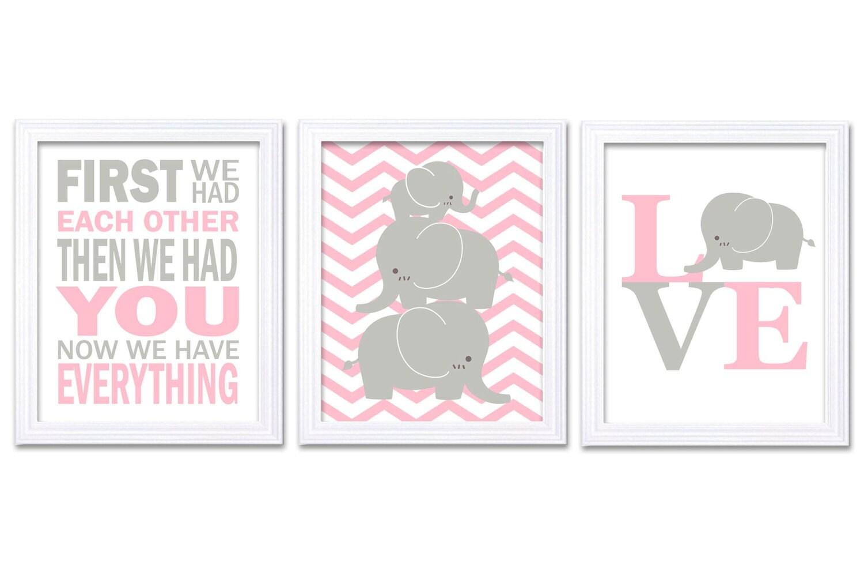 Elephant Nursery Wall Decor LOVE Set of 3 Prints Pink Grey Nursery Art Chevron First We Had Each Oth