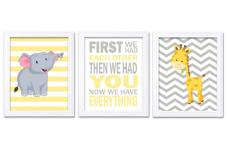 Giraffe Elephant Nursery Wall Decor Set of 3 Prints Yellow Grey Nursery Art Chevron First We Had Eac