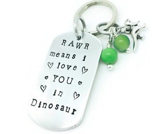 Rawr Means I Love You In Dinosaur Hand Stamped Key Ring | Dino Key Chain | Hand Stamped Love Key Ring | Dinosaur Love | Gift For Him
