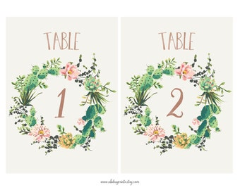 Table numbers for cactus weddings | desert succulents | 1-30 digital download (DP123)
