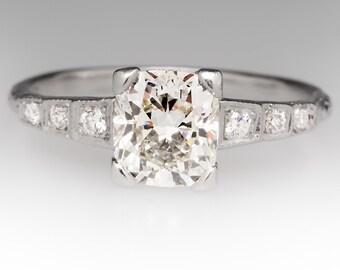 Vintage 1.21 Carat Cushion Cut Diamond Platinum Engagement Ring WM9844
