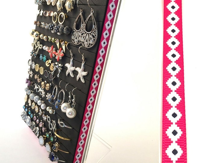 Stud Earring Holder - Pink Diamond Ribbon - Earring Organizer