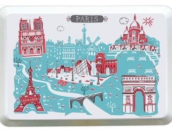 Paris City Tray-City Tray-Melamine Tray-Red-Turquoise-City Serving Tray-Home Decor-Personalized-Custom-Any City Tray