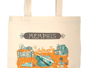 Memphis Tote Bag-City Tote-Tennessee Tote-Any City Tote-Orange-Turquoise-Gray-Personalized-Custom