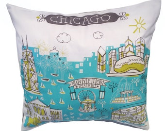 Chicago Pillow Cover-Home Goods-Kitchen-Turquoise-Lime Green-Grey-16 x 16