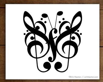 Music note art print, BUTTERFLY music art print - 5x7, 8x10, 11x14 Fine art print, Music wall art, Music gift, Music room decor