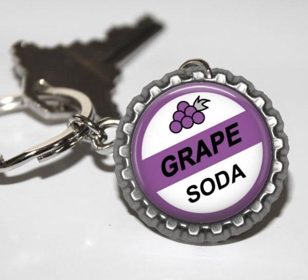 Disney UP GRAPE SODA Inspired Flat Bottle Cap Key Chain