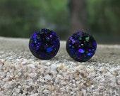 Earrings Druzy Stud Earrings Boho Jewelry Midnight Blue Purple Black 12MM