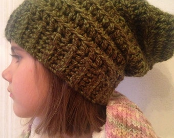 "Tuque ""Accordion"" crocheted hand - Look slouchy - big wool - choose your colour - with or without pompon"