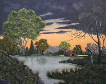 This is a 20 x 24 original acryic painting of an impending storm over a quiet barn next to a pond at sunset.