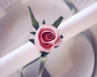 pale pink rose napkin ribbons, napkin rings, housewarming party, handmade, wedding napkin, table decoration, deco, flower napkin rings