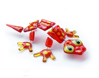 Red fused glass Lizard