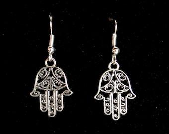 Silver Hamsa earrings, Hamsa earrings, Hamsa filigree earrings, Amulet jewellery, Hand of fatima jewelry, Amulet earrings