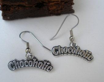 Chocoholic Earrings / Chocolate Lover Earrings/ Chocoholic Charm/ Chocolate Earrings/ Chocoholic